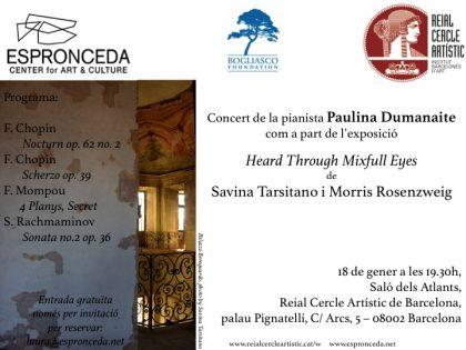 Concert Piano @Saló dels Atlants, Reial Cercle Artístic de Barcelona, with the pianist Paulina Dumanaite – JAN 18th – 19h30