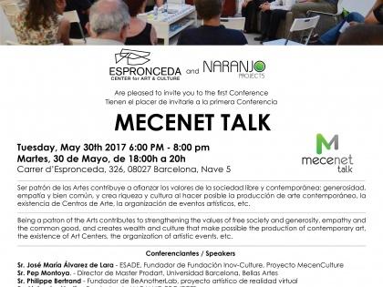 """Conferència @ """"MECENET Talk"""" – Dimarts 30 de Maig – 18h"""