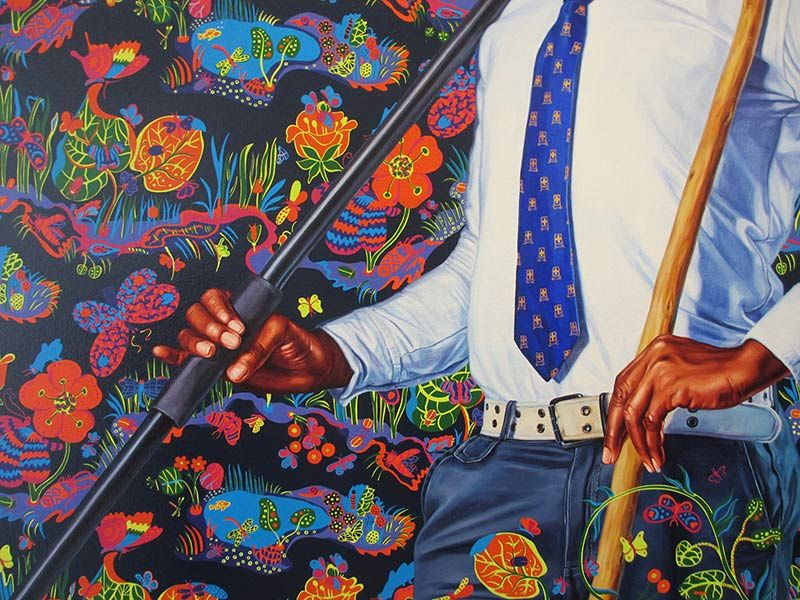 Detail of Kehinde Wiley painting
